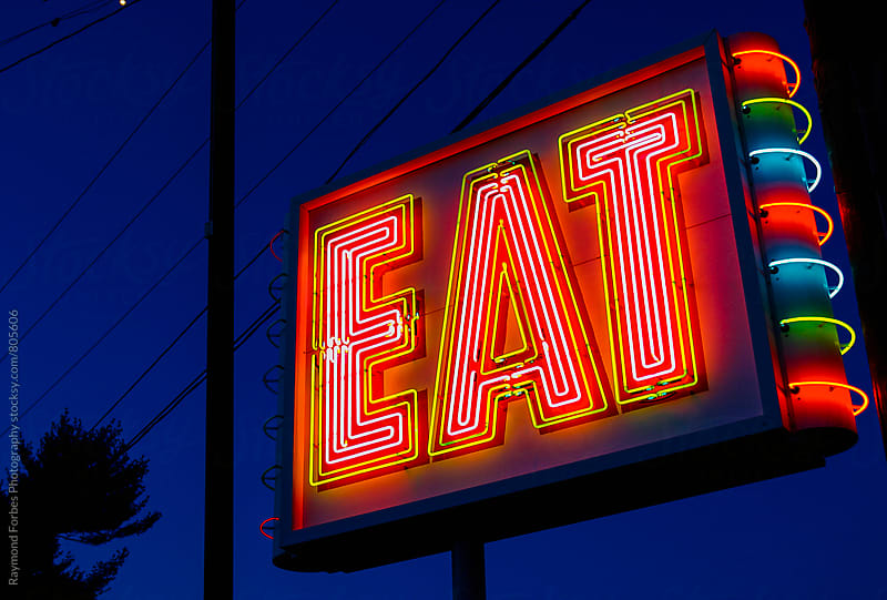 Eat Sign on Rural Highway USA by Raymond Forbes LLC for Stocksy United