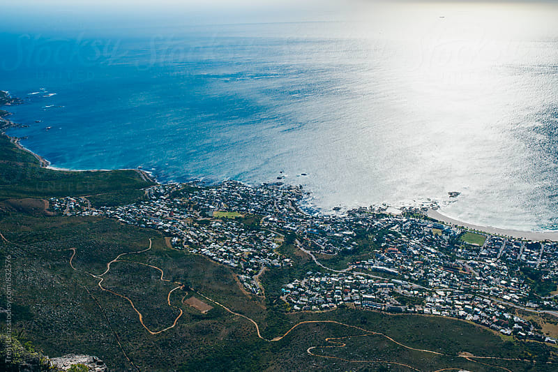Beautiful sunny blue seascape. Aerial Cableway by Trent Lanz for Stocksy United