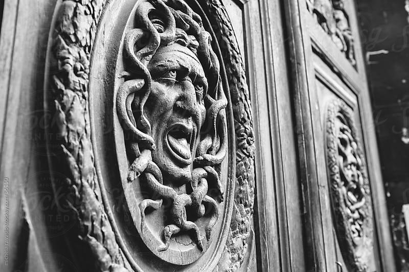 Medusa decorative wooden door element by michela ravasio for Stocksy United