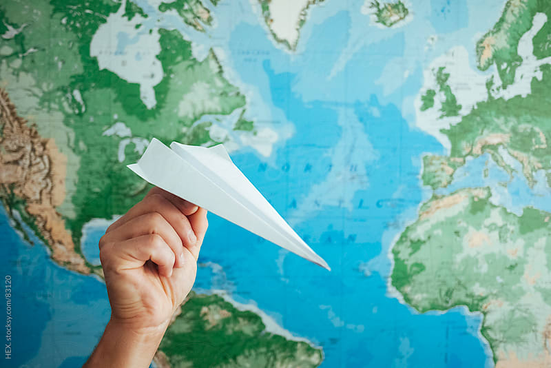 Paper Airplane with World Map by HEX. for Stocksy United