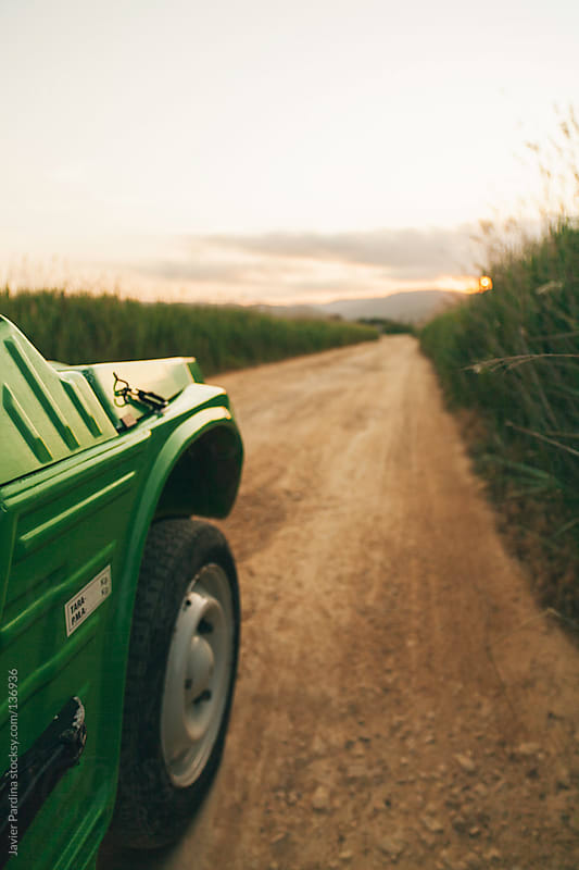driving  a green car  on a country road by Javier Pardina for Stocksy United