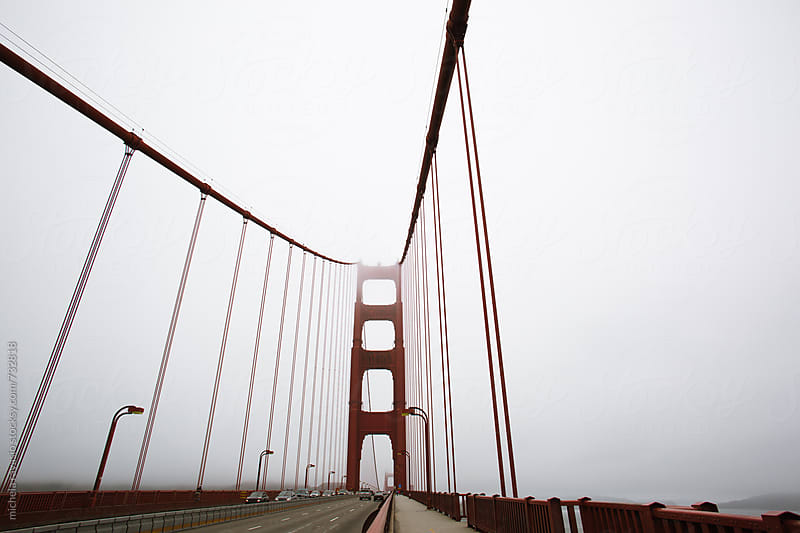View of Golden Gate Bridge in a foggy morning, San Francisco bay by michela ravasio for Stocksy United