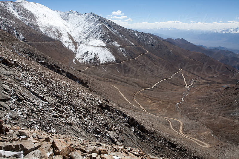 Zig Zag mountain road from Top in Ladakh,India by PARTHA PAL for Stocksy United