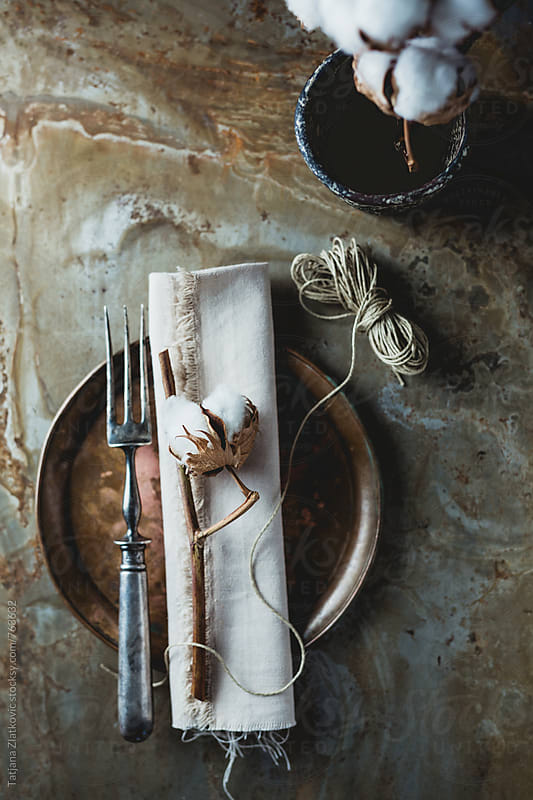 Place setting with cotton by Tatjana Zlatkovic for Stocksy United