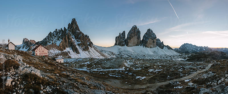 panoramashot with the famous three peaks in the italian dolomites at sunset by Leander Nardin for Stocksy United