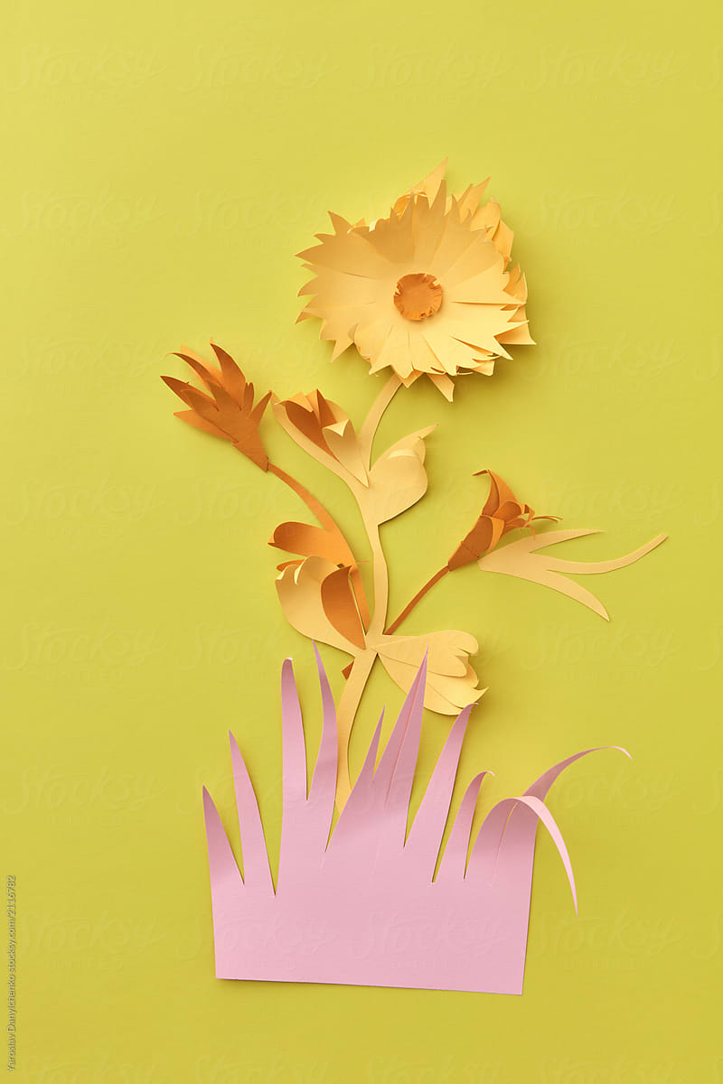 Paper Origami With Colored Paper Flower Handmade Leaves And Pin