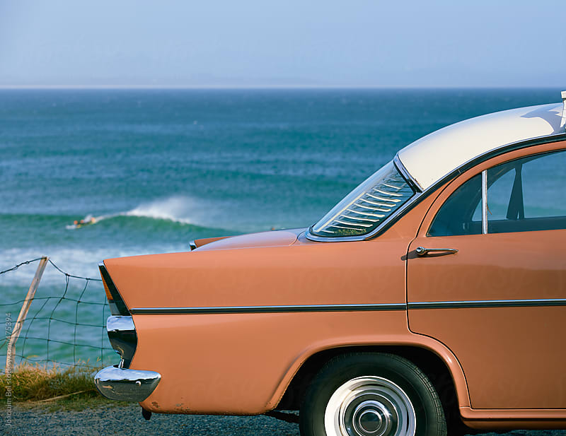 Old school car and surf. by Joaquim Bel for Stocksy United