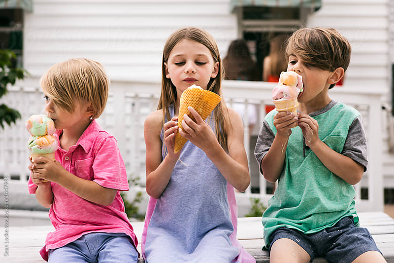 stock photo: kids with ice cream