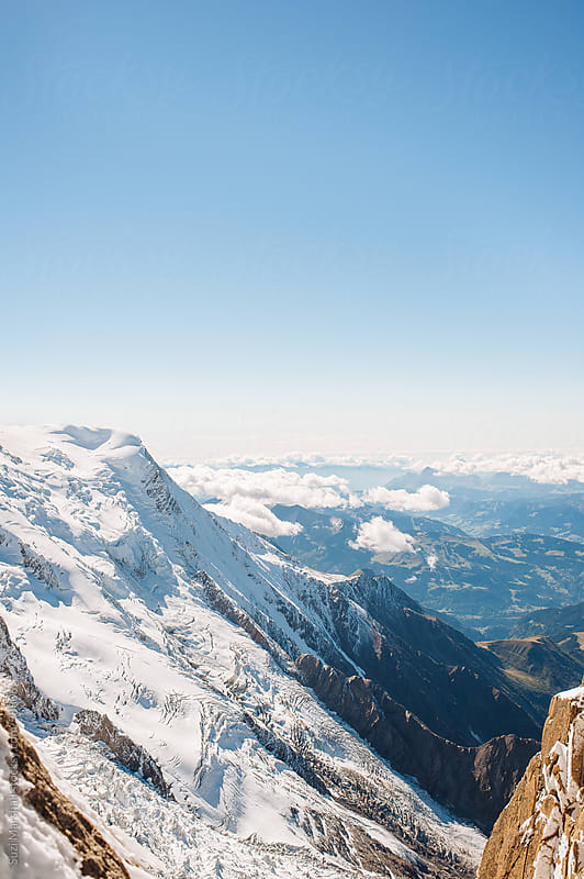 Mountains covered in snow at the Mont Blanc Massif in the French Alps by Suzi Marshall for Stocksy United