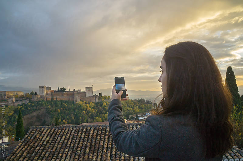 Alhambra of Granada from the viewpoint of Saint Nicholas by ACALU Studio for Stocksy United