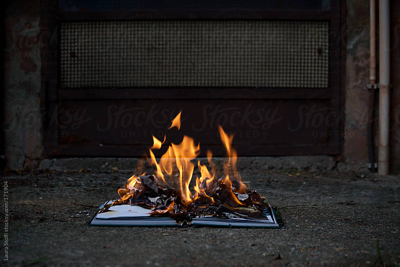 Book in flames on concrete pavement by Laura Stolfi for Stocksy United
