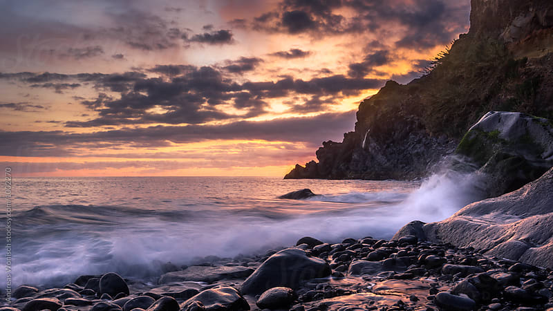Beach on Madeira At Sunset by Andreas Wonisch for Stocksy United