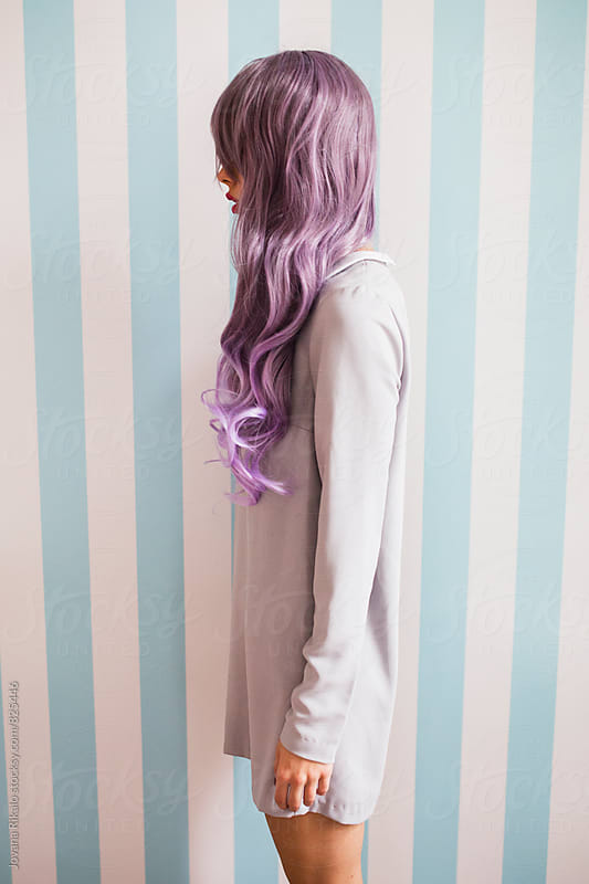 Fashionable young woman with purple hair portrait by Jovana Rikalo for Stocksy United