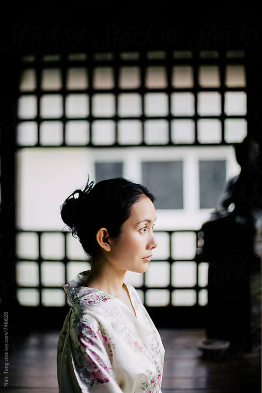 Beautiful Japanese woman profile portrait by Nabi Tang for Stocksy United