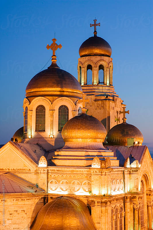 Gold domes of the Cathedral of the Assumption, Varna, Black Sea coast, Bulgaria, Europe by Gavin Hellier for Stocksy United