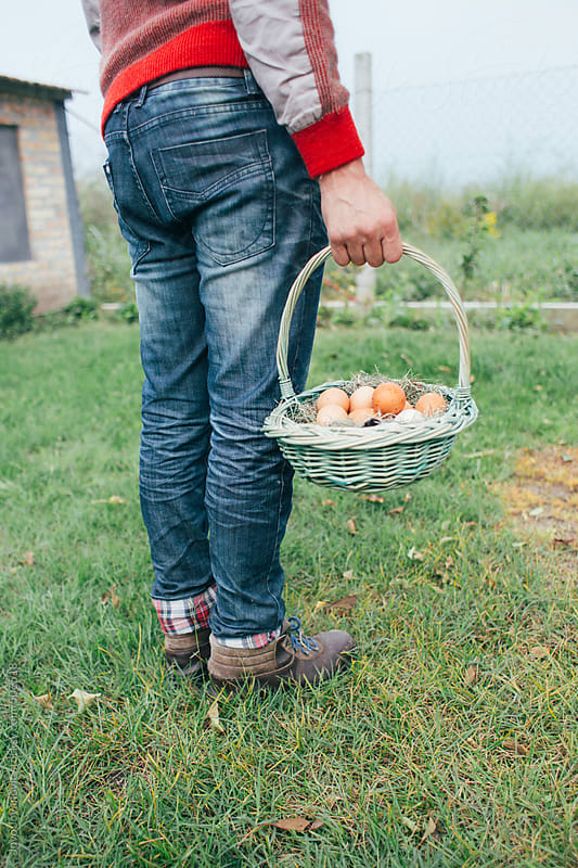 Man holding a basket with fresh eggss by Jovo Jovanovic for Stocksy United