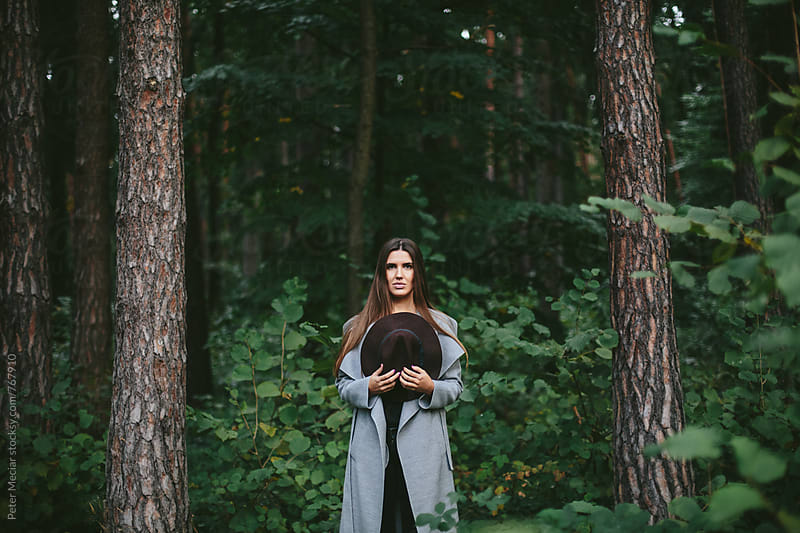 Autumn portrait brunette woman by Peter Meciar for Stocksy United