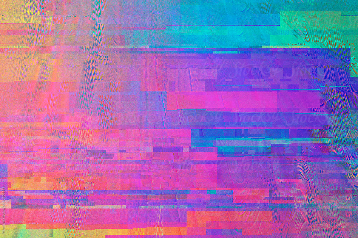 Colorful rainbow digital pixel glitch background/texture by Wizemark -  Abstract, Glitch - Stocksy United