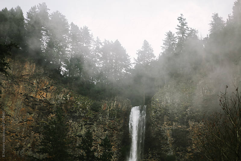 Multnomah Falls waterfall on an overcast and foggy day by B. Harvey for Stocksy United