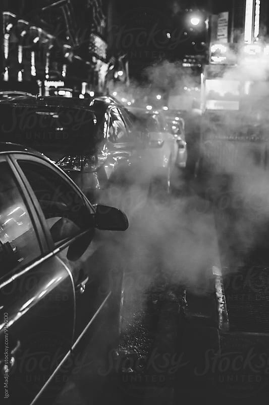 New York street,night,danger,steam by Igor Madjinca for Stocksy United