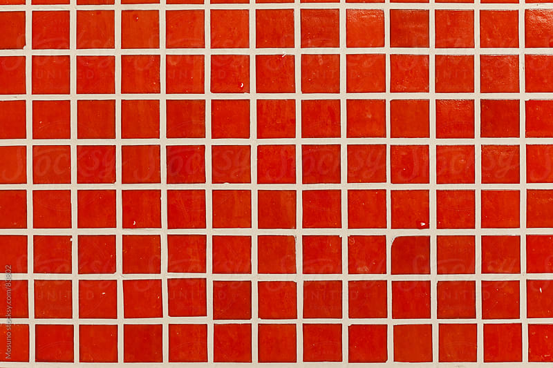 Red tiles as background.  by Mosuno for Stocksy United