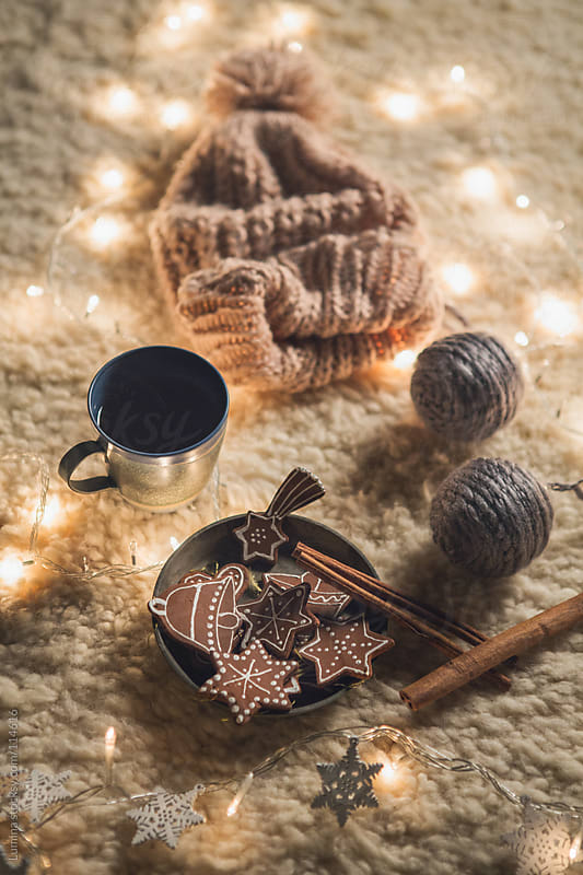 Knit Cap and Christmas Ornaments by Lumina for Stocksy United