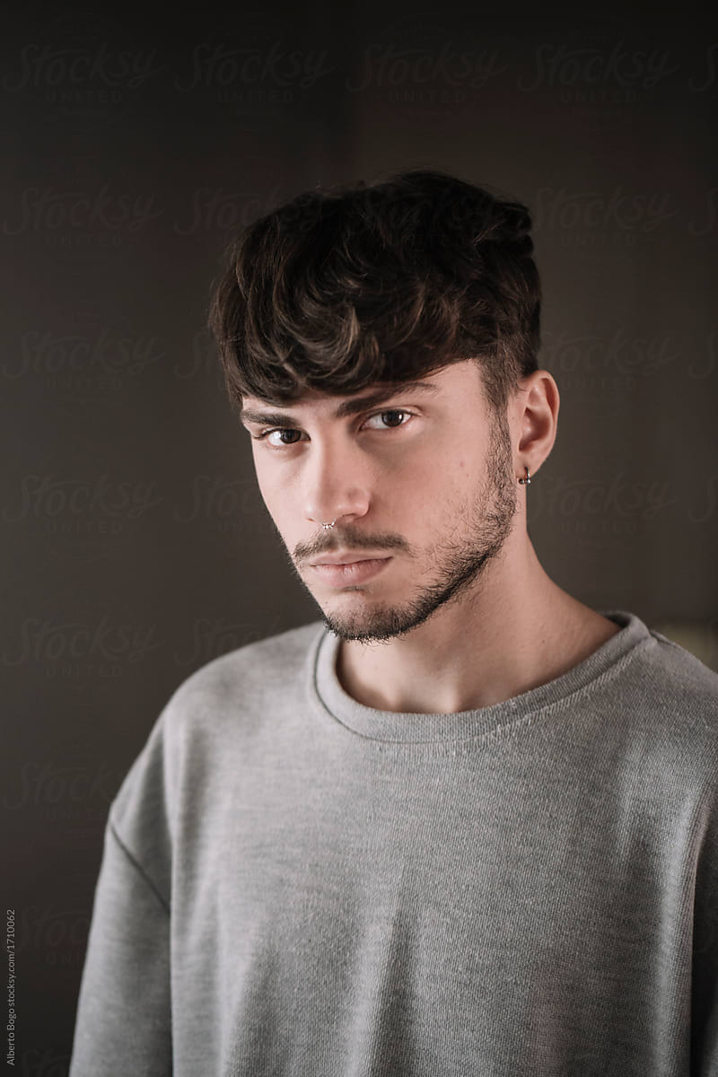 Young Man With Nose Piercing By Alberto Bogo Guy Headshot