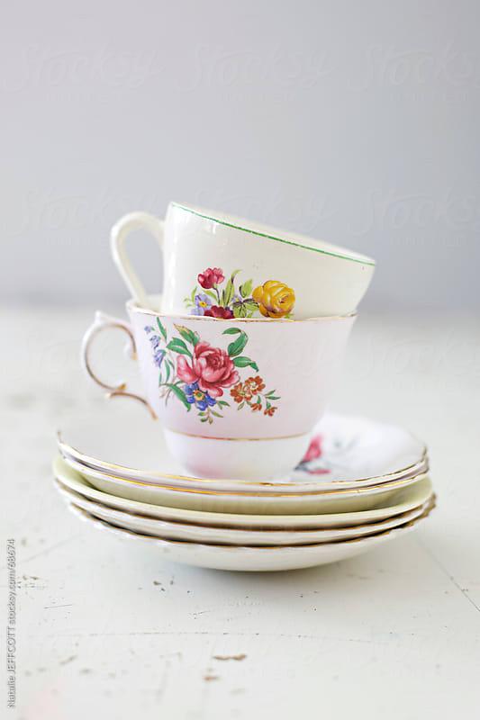 vintage tea cups by Natalie JEFFCOTT for Stocksy United
