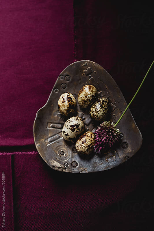 Quail eggs with flowers by Tatjana Zlatkovic for Stocksy United