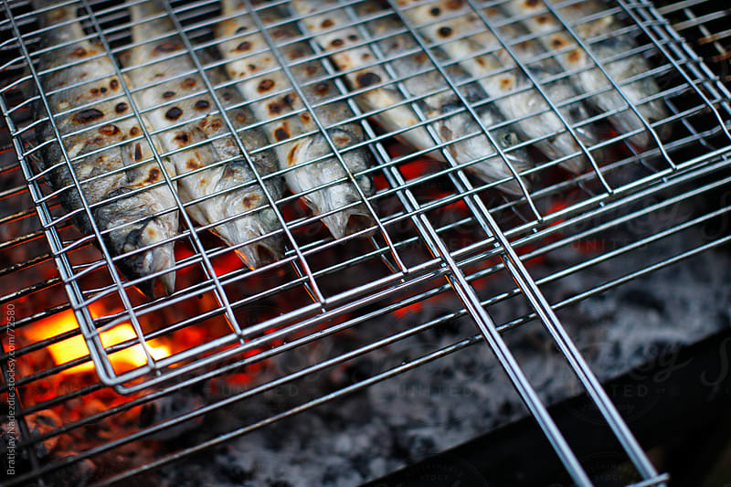 Sea bass fishes on grill by Bratislav Nadezdic for Stocksy United
