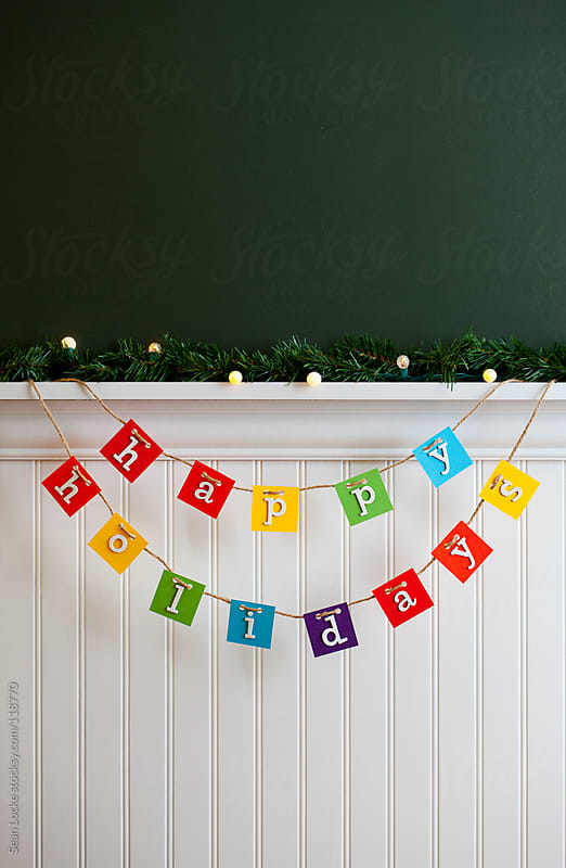 Holidays: Multi-Colored Handmade Happy Holidays Sign by Sean Locke for Stocksy United