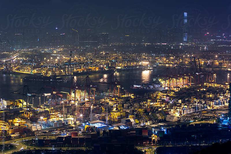 Port of Hong Kong at night by Maa Hoo for Stocksy United