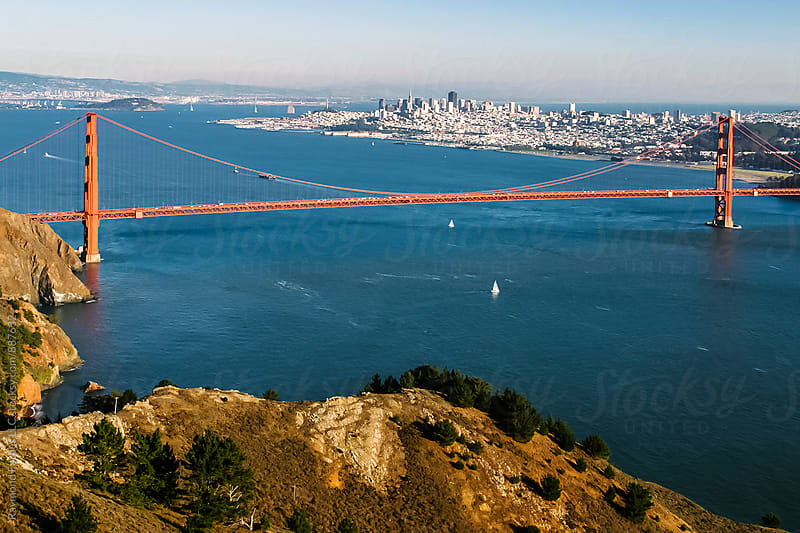 Marin Headlands with Golden Gate Bridge San Francisco, California by Raymond Forbes LLC for Stocksy United