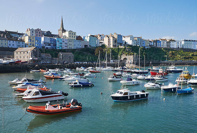 Boats in Tenby Harbour. Wales, UK. by Liam Grant for Stocksy United