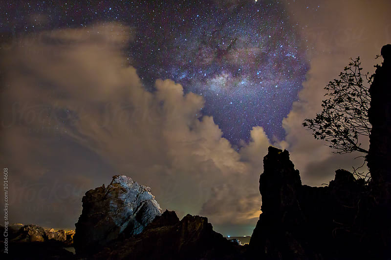 Beautiful night landscape with rocks by Jacobs Chong for Stocksy United