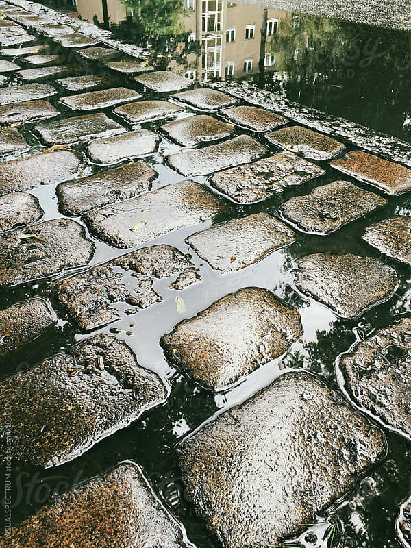 Wet Cobblestones and Puddlegram by VISUALSPECTRUM for Stocksy United