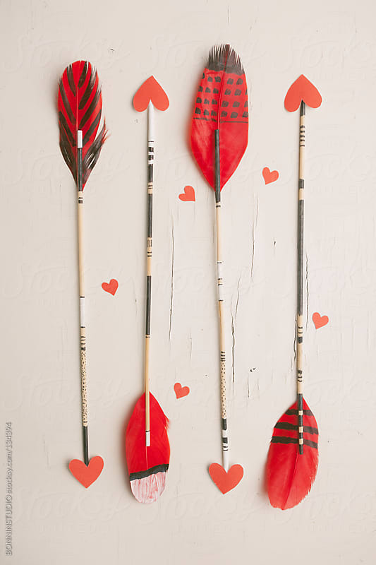 Hipster arrows with red hearts. Valentine's day. by BONNINSTUDIO for Stocksy United