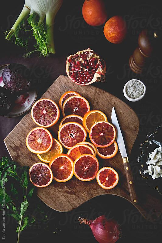 Ingredients for blood orange salad by Sophia van den Hoek for Stocksy United