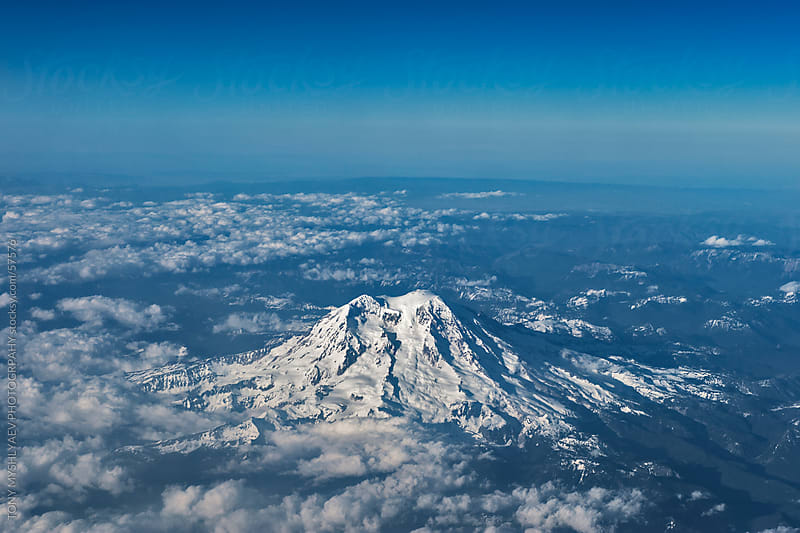 Mount Rainier From the Sky by TONY MYSHLYAEV PHOTOGRPAHY for Stocksy United