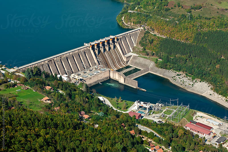 Aerial View of Dam Perućac, Serbia by Goldmund Lukic for Stocksy United