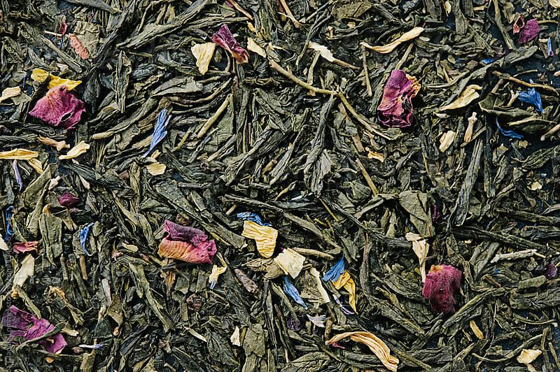Loose  Green Sencha Tea Mixed with Flower Petals Background by Claudia Lommel for Stocksy United