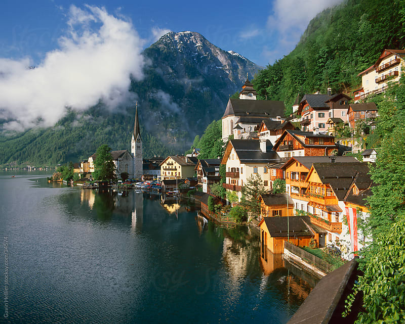Village with mountains and lake, Hallstatt, UNESCO World Heritage Site, Salzkammergut, Austria, Europe by Gavin Hellier for Stocksy United