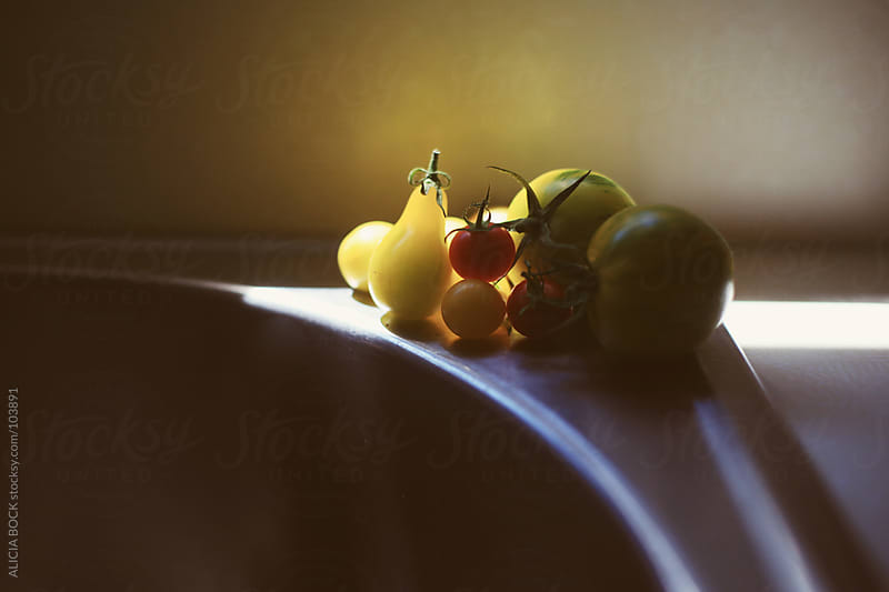 Fresh Picked Heirloom Tomatoes by the Kitchen Sink On A Summer Afternoon by ALICIA BOCK for Stocksy United