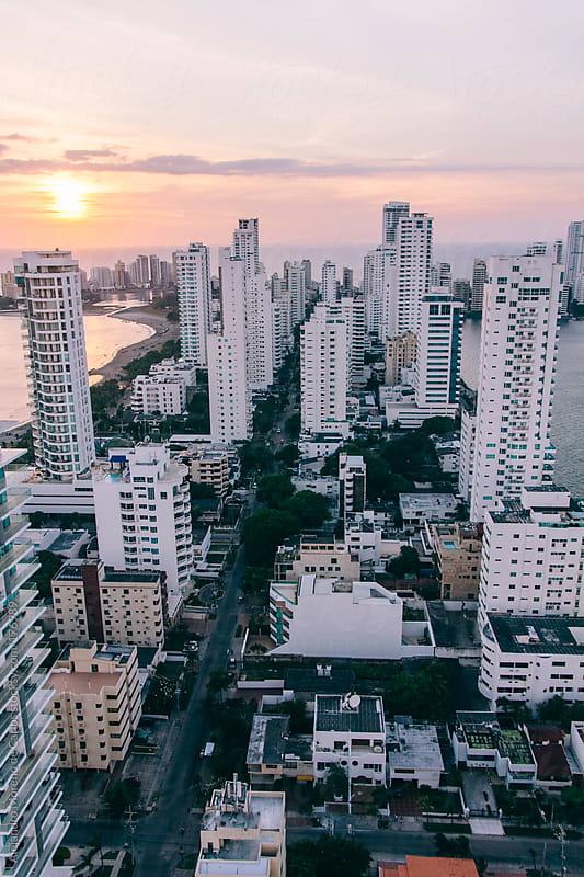 City with white buildings. Cityscape of Cartagena de Indias, Colombia by Alejandro Moreno de Carlos for Stocksy United