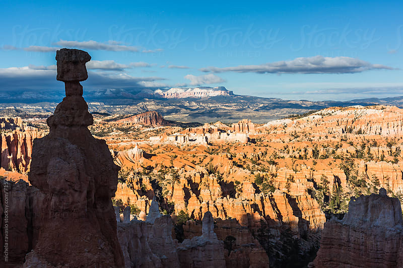 Panoramic view of Bryce Canyon with a pinnacle in the foreground by michela ravasio for Stocksy United