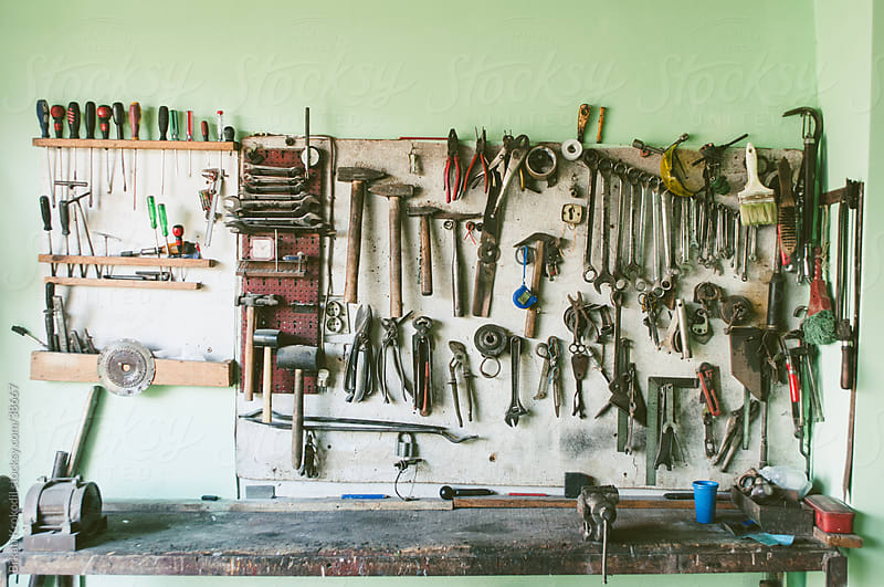 Tools in the workshop by Brkati Krokodil for Stocksy United