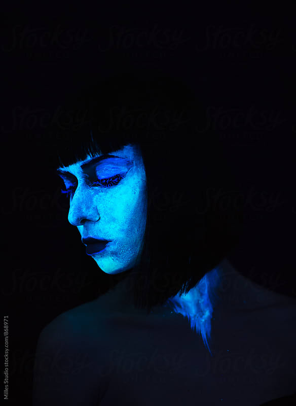 Fluorescent Woman Portrait by Milles Studio for Stocksy United