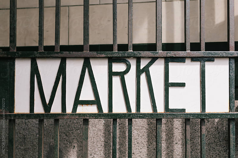 Market Lettering on an Iron Gate by VICTOR TORRES for Stocksy United