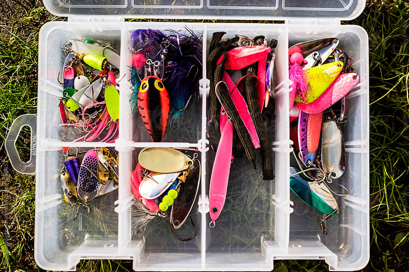 Box of variety fishing lures by Suprijono Suharjoto for Stocksy United