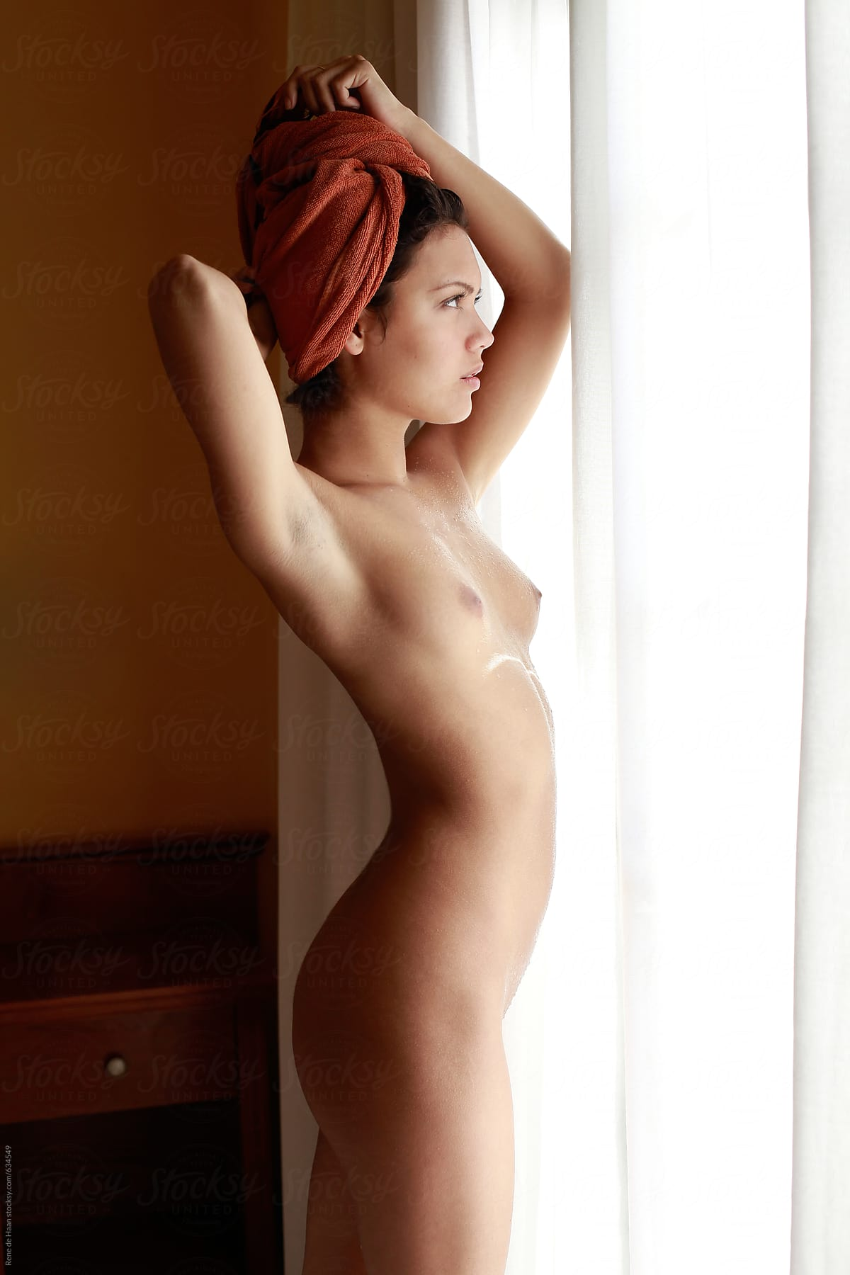 Naked Young Woman In Front Of Window By Rene De Haan -1336